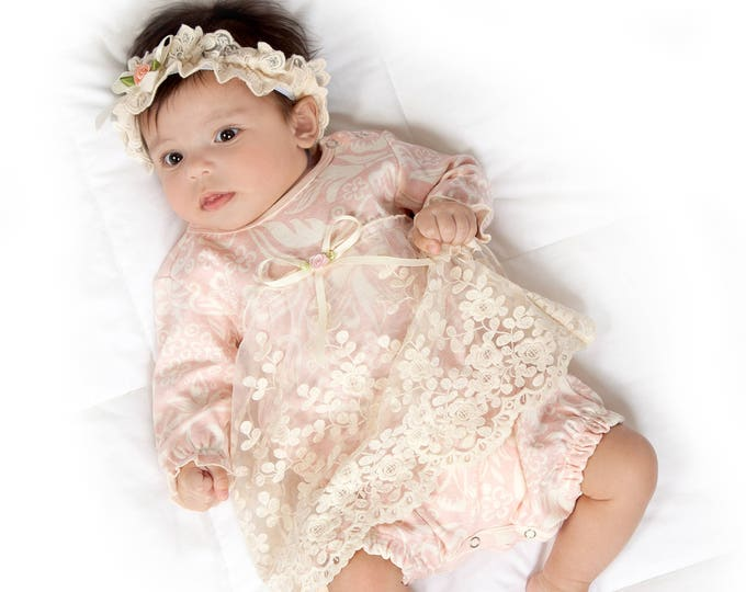 Baby Girl Lace Skirted Romper, Newborn Girl Outfit, Baby Girl Skirted Romper Pink Floral, Baby Girl Pink Romper Headband
