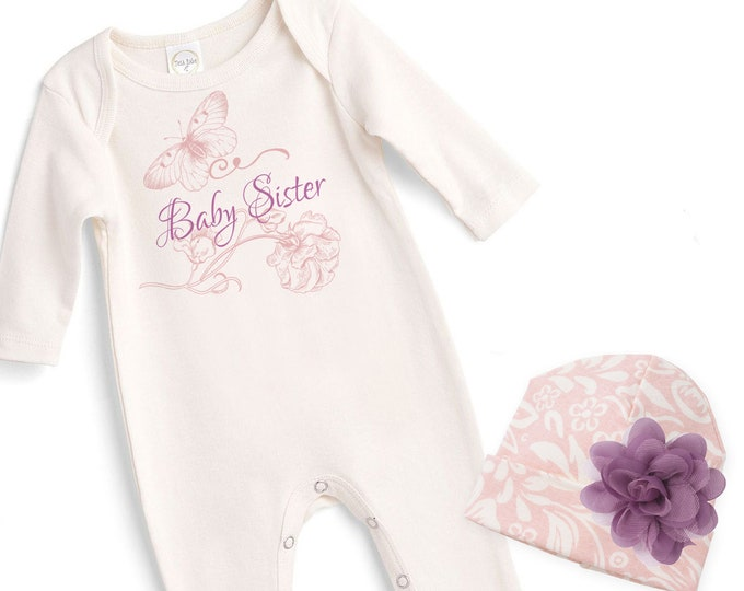 Baby Sister Coming Home Outfit, Newborn Girl Come Home Outfit, Baby Girl Take Home Romper Baby Sister, Tesababe