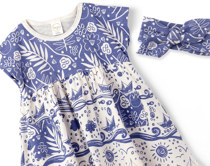 SALE! Baby Girl Dress, Summer Baby Girl Blue Floral Dress, Blue Floral Infant Girl Dress, Newborn Girl Blue Flowers Summer Dress TesaBabe