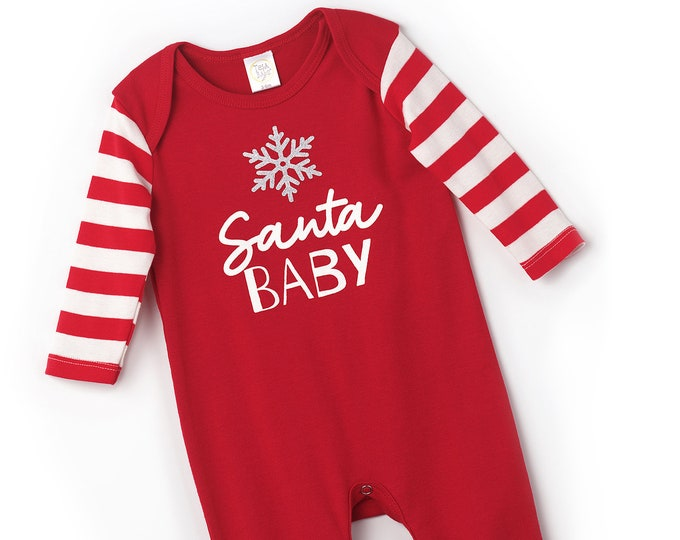 Newborn Christmas Romper Red, Baby Boy Girl Christmas Bodysuit, Baby Girl Boy Christmas Bodysuit, Red White Cotton, Tesababe