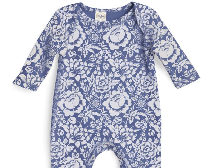 Baby Girl Romper Blue Floral, Baby Girl Blue Bodysuit, Infant Girl Onesie, Newborn Baby Girl Blue Flowers Romper Tesababe