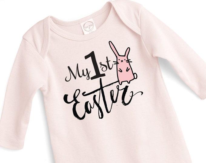 Baby Girl Easter Romper, Baby Girl Easter Bunny Bodysuit, Infant Girl Easter Onesie, Newborn Easter Baby Girl ONesie, Pink Tesababe