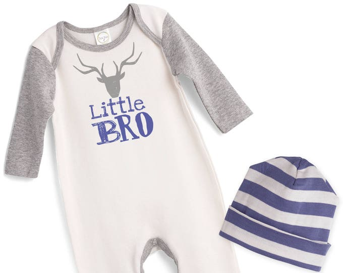 Little Bro Take Home Romper, Baby Boy Coming Home Romper, Baby Little Brother Bodysuit Hat, Little Bro Romper, TesaBabe