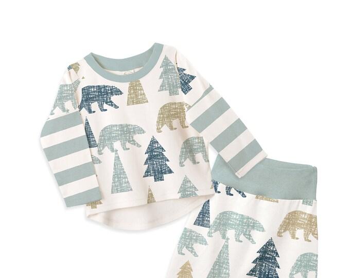 Newborn Baby Boy Coming Home Fall Outfit, Baby Boy Long Sleeve Bear Mountain Set, Newborn Baby Boy Set Aqua Tesa Babe
