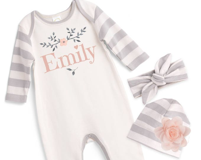 Personalized Newborn Girl Coming Home Outfit, Newborn Baby Girl Outfit, Baby Girl Take Home Romper, Baby Girl Headband, Grey Pink, Tesababe