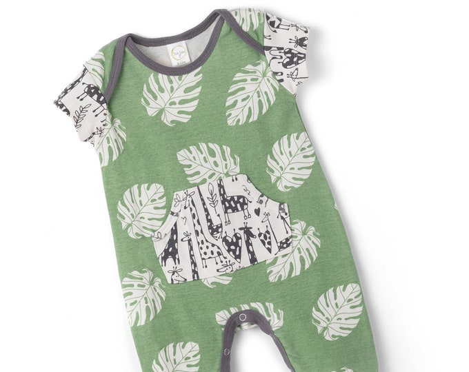 Newborn Baby Boy Onesie Outfit Summer, Baby Girl Green Pocket Romper, Infant Neutral Romper Green Leaves, Newborn Giraffe Clothes Tesa Babe