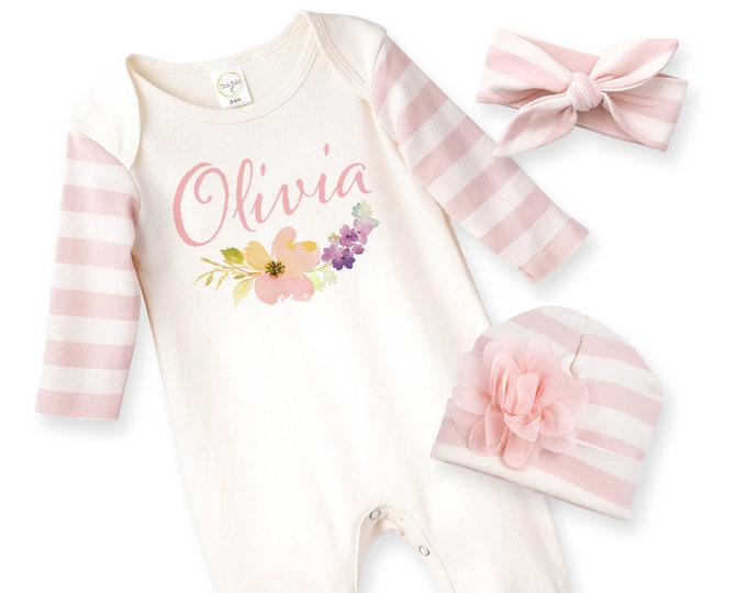 Personalized Newborn Girl Coming Home Outfit, Baby Girl Name Outfit, Baby Girl Take Home Romper, Custom Baby Girl Outfit, Pink Name Tesababe