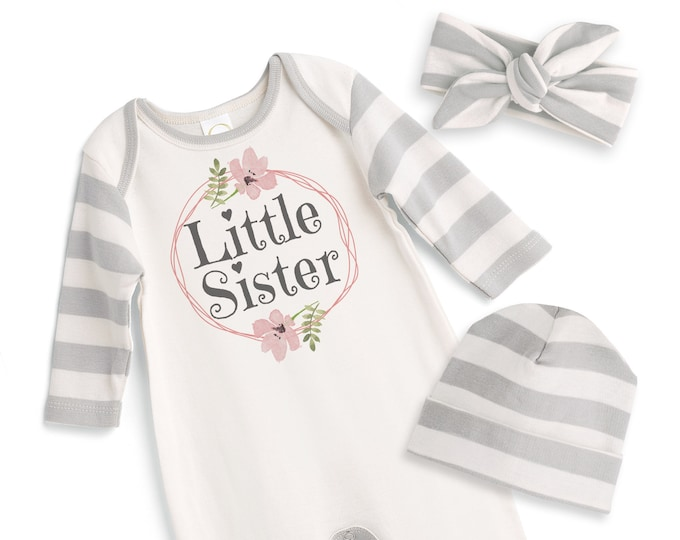 Little Sister Coming Home Outfit, Newborn Girl Outfit, Baby Girl Take Home Outfit, Baby Little Sister, Grey Floral Romper Tesababe