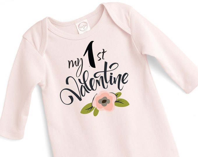 Baby My First Valentines Romper, Newborn 1st Valentine's Bodysuit, Infant Girl Valentines Onesie, 1st Valentines Baby Girl Onesie Tesababe