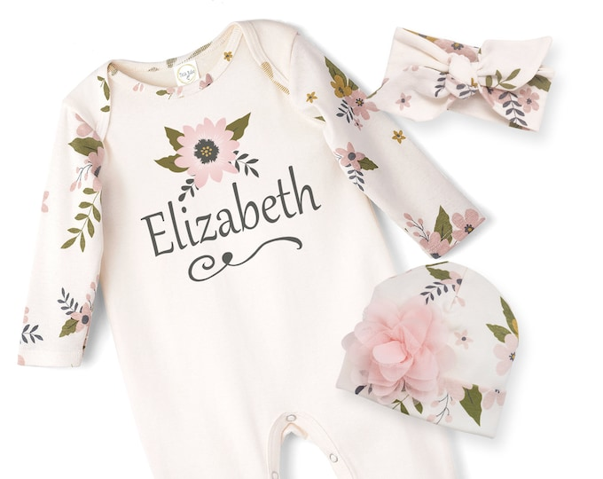 Personalized Newborn Girl Coming Home Outfit, Newborn Girl Take Home Romper, Monogrammed Baby Girl, Infant girl Name Romper, Tesa Babe