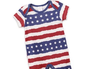 BELS Baby Boys Girls 4th of July One-Piece Outfits Clothes American Flag Stars Stripes Halter Romper Bodysuit