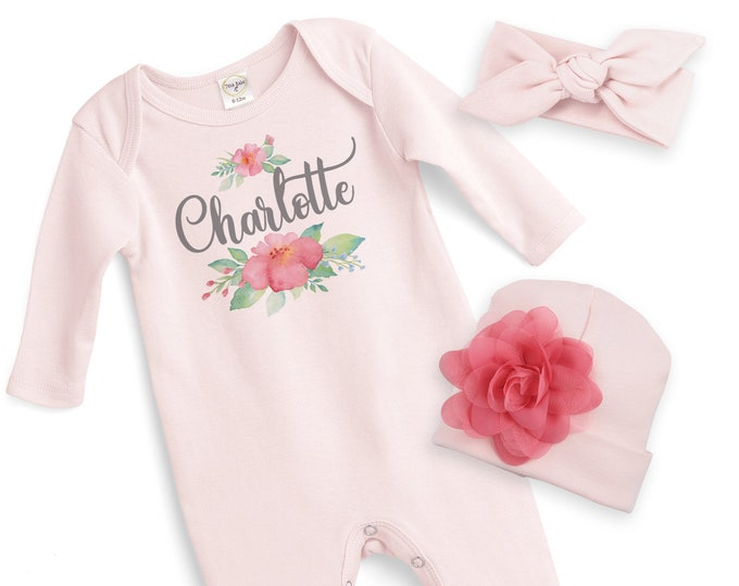 Custom Newborn Girl Coming Home Outfit, Monogram Baby Girl Outfit, Baby Take Home Romper, Personalized Take Home, Toddler Clothes Tesababe