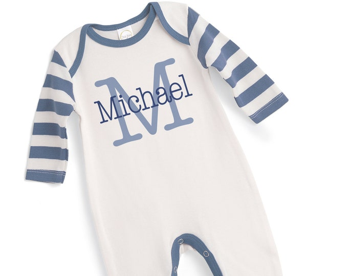 Personalized Newborn Boy Coming Home Outfit, Monogram Infant Boy Custom Outfit, Baby Boy Name Romper, Baby Boy Monogrammed Romper, TesaBabe