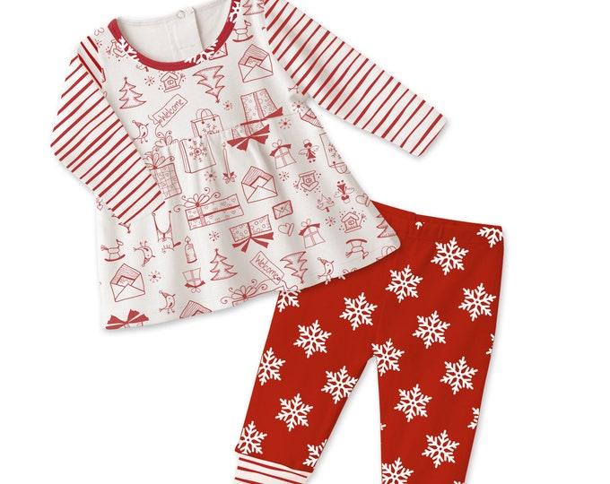 Baby Girl Christmas Outfit, Baby Girl Holiday Top Bottom, Baby Girl Snowflake Red Leggings, Newborn Girl Outfit, Infant Baby Girl Tesa Babe