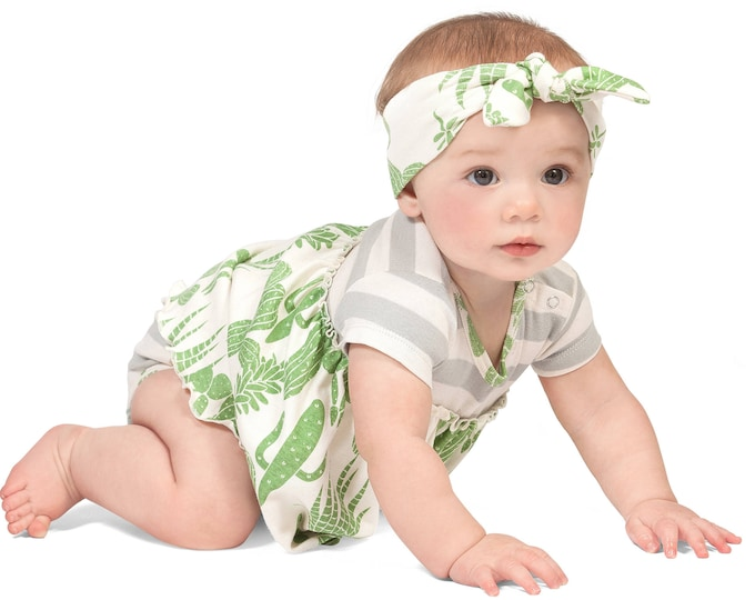 SALE! Baby Skirted Bodysuit Dress, Newborn Girl Outfit, Baby Girl Skirted Romper Green Cactus, Southwest Baby Girl Cactus Dress, Tesa Babe