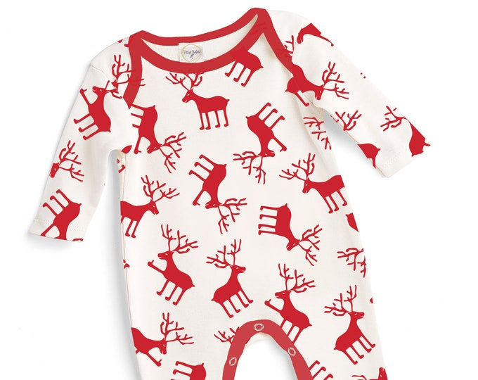 Newborn Christmas Romper Red Reindeer, Baby Boy Girl Christmas Bodysuit, Baby Girl Boy Christmas, Red White Cotton, Tesababe