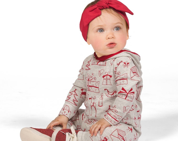 Baby Christmas Hoodie, Holiday Baby Hoodie Romper, Newborn Christmas Hooded Romper, Infant Baby Hoodie Christmas, Toddler Red Xmas Tesa Babe