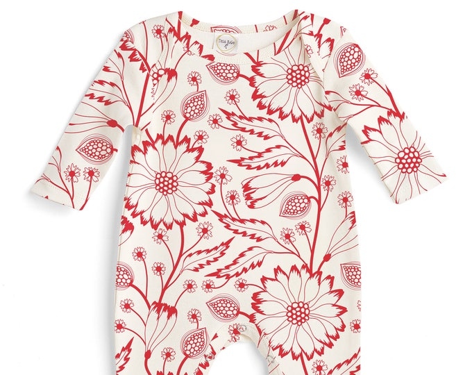Baby Girl Romper Red Floral, Baby Girl Red Bodysuit, Infant Girl Onesie, Newborn Baby Girl Red Flowers, Fashion Onesie Romper Tesababe
