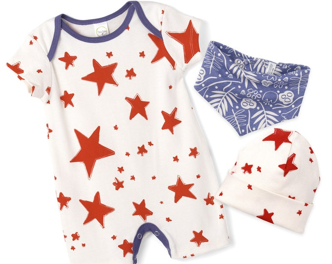 STAR SALE! Newborn Baby 4th July Romper, Baby Girl Red Stars Blue Shorts Romper, Newborn July 4, Baby Boy July 4th Star Outfit, Tesa Babe