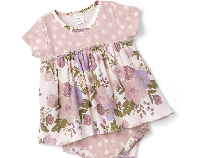 WHOLESALE Ships 1/15/19, Baby Girl Romper, Baby Girl Spring Onesie, Newborn Flower Girl Bodysuit, Baby Pink Flower Onesie Bodysuit Tesa Babe