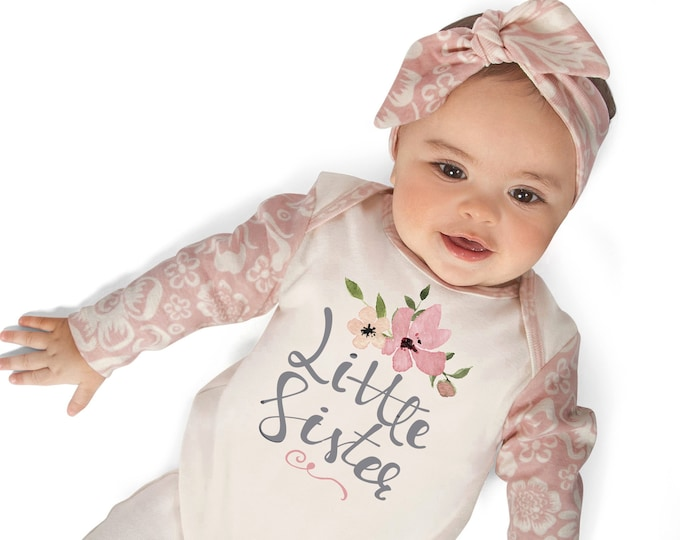 Little Sister Coming Home Romper, Newborn Girl Romper, Baby Girl Take Home Romper, Baby Little Sister, Pink Floral Rompe Tesababe