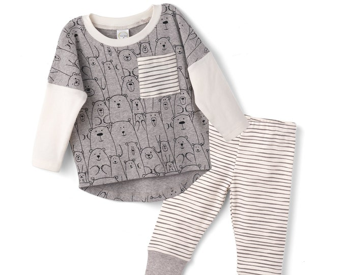 Baby Boy Outfit, Baby Boy Bear Top Bottom Long Sleeve Outfit, Baby Boy Leggings, Newborn Boy Outfit, Infant Boy Set, Toddler Bears TesaBabe