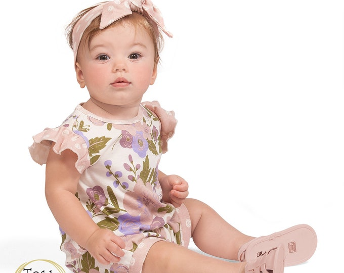 Baby Newborn Girl Short Sleeve Romper Pink Spring Onesie, Infant Girl Baby Romper, Flower Girl Outfit, Toddler, Tesa Babe SS19-1