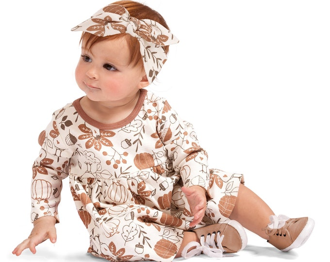 WHOLESALE Baby Girl Thanksgiving Dress, Toddler Girl Thanksgiving Outfit, Turkey Cotton Dress, Thanksgiving Turkey, Brown Ivory, Tesababe
