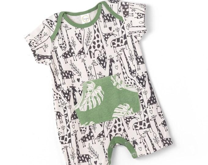 SALE! Newborn Baby Onesie Outfit, Short Sleeve Baby Boy Onesie Pocket Romper, Baby Boy Giraffe Romper, Baby Onesie Pockets, Summer