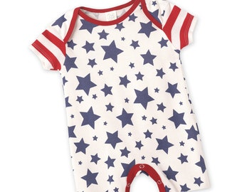 bed69def2b0f1 Baby 4th July Romper, Baby Red Stars Blue Shorts Romper, Baby July 4, Baby  Boy July 4th Star Outfit Girl 0 3 6 9 12 18 month Tesa Babe