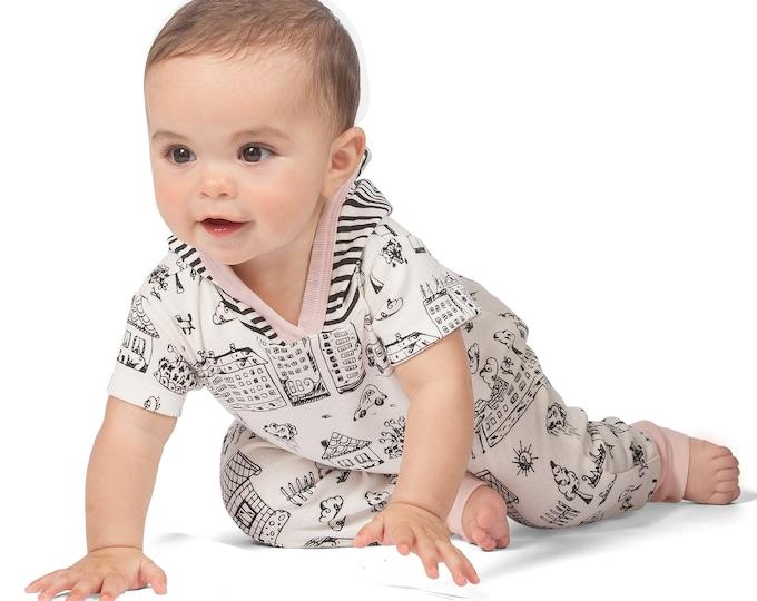 Baby Girl Hoodie Onesie, Newborn Baby Girl Romper, Short Sleeve Baby Hoodie, Baby Hooded Romper, Infant Onesie Sleeve Romper, Neighborhood