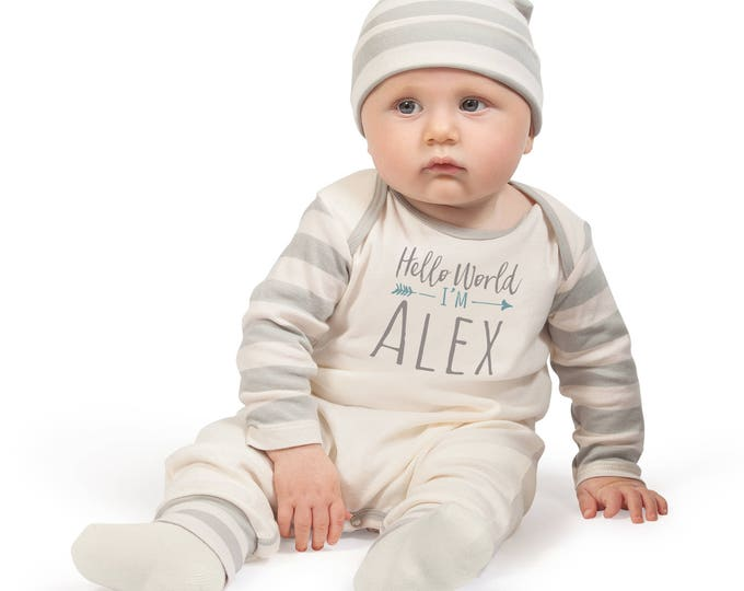 Personalized Baby Coming Home Romper, Custom Baby Take Home Bodysuit, Baby Name Romper, Customized Baby Neutral Romper, Baby Outfit TesaBabe