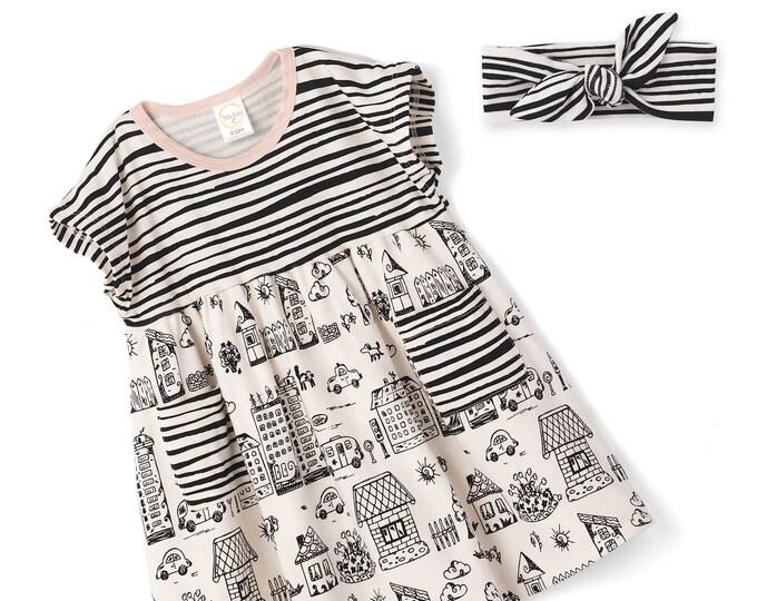 Baby Girl Dress, Newborn Girl Summer Dress, Infant Girl Dress, Newborn Girl Sleeveless Dress, Baby Pink Dress, Baby Town Dress, TesaBabe
