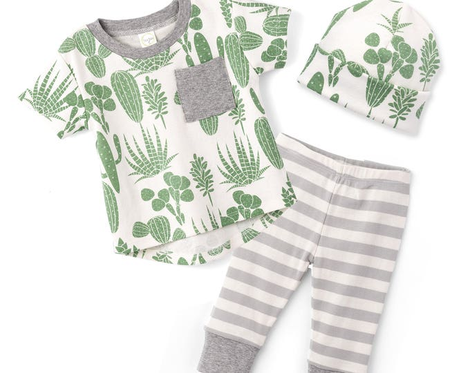 SALE! Baby Boy Cactus Outfit, Baby Boy Short Sleeve Outfit, Baby Boy Leggings, Newborn Boy Cactus Outfit, Cactus, Infant Boy, TesaBabe