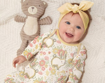 Baby Girl Easter Outfit, Yellow Bunnies Romper