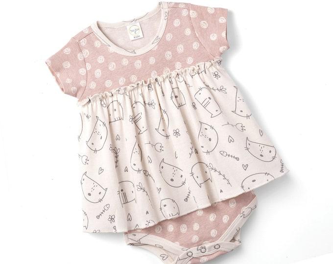 WHOLESALE BABY CLOTHES Baby Girl Spring Onesie Bodysuit, Newborn Kitten Girl Bodysuit, Baby Bodysuit, Baby Girl Skirted Bodysuit Tesa Babe
