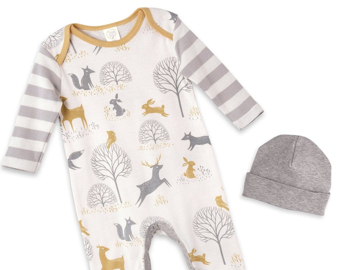 Newborn Unisex Coming Home Outfit, Newborn Boy Coming Home, Woodland Baby Outfit, Newborn Girl Coming Home Scandinavian Baby Outfit Tesababe