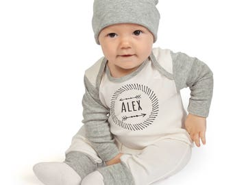 Personalized Newborn Boy Coming Home Outfit, Newborn Boy Outfit, Personalized Newborn Outfit, Baby Boy Gray Romper, TesaBabe