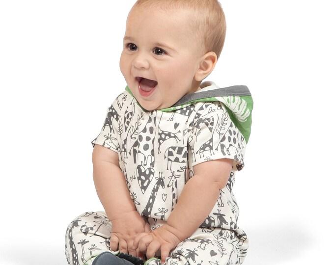 SALE! Baby Boy Hoodie Romper, Baby Hoodie Onesie, Baby Boy Hoodie, Newborn Baby Hooded Romper, Baby Giraffe Hooded Onesie Tesa Babe