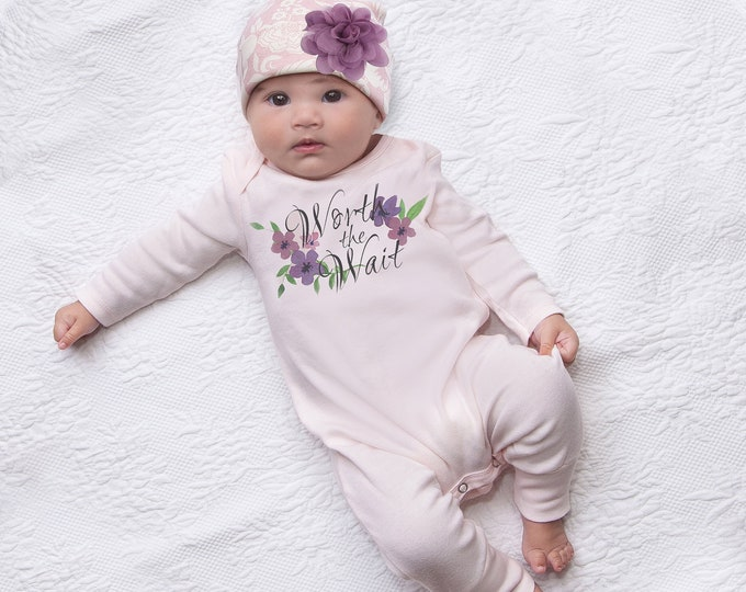 Newborn Girl Worth the Wait Coming Home Outfit, Newborn Girl Outfit, Baby Girl Take Home Romper, Baby Tesa Babe
