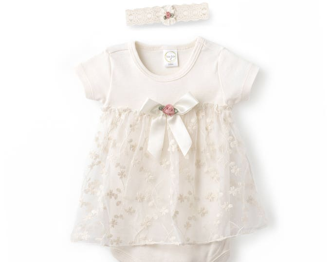 Baby Girl Lace Dress, Newborn Girl Outfit, Baby Girl Onesie Skirted Romper Lace Floral, Baby Girl Lace Romper, Baby Lace Headband, Tesa Babe