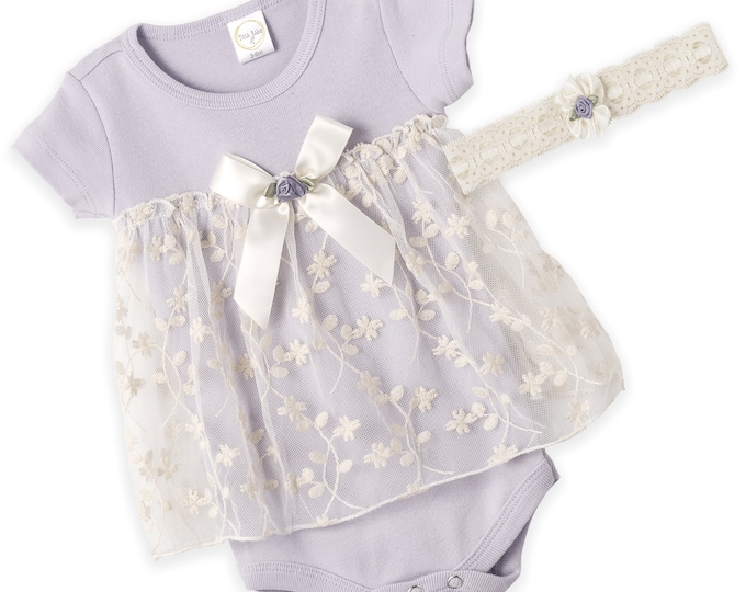 Baby Girl Lace Dress, Newborn Lavender Lace Dress, Infant Girl Lavender Lace Dress, Baby Girl Lace Skirted Romper, Lace Headband Tesa Babe