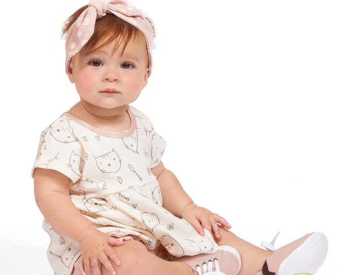 Baby Girl Toddler Kitty Outfit, Baby Girl Top Bloomers Headband, Pink Newborn Girl Cats Spring 3 6 9 12 18 24 Month Clothes TesaBabe SS19-3