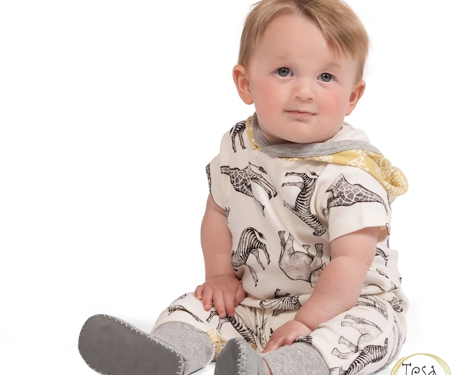 Baby Boy Spring Hoodie, Animal Baby Romper, Long Sleeve Hooded Jumpsuit, Infant Hoodie Horse Boy 3 6 9 12 18 Month Onesie Tesa Babe SS19-6