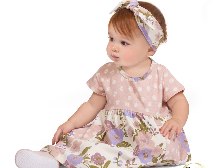 Baby Flower Girl Dress, Newborn Toddler Baby Girl Dress Short Sleeve, Spring Baby Headband Girl 3 6 9 12 18 24 Month Clothes TesaBabe SS19-1