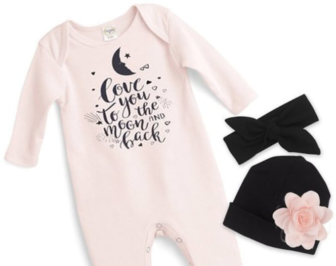 Baby Girl Romper, Newborn Girl Take Home Romper, Love You Moon Pink Baby Bodysuit, Pink Long Sleeve Romper, TesaBabe F85PP