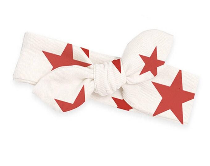 STAR HEADBAND! Baby Girl 4th July Headband, Newborn Girl Headband, Infant 4th July Baby Bow, Red Stars Baby Headband, July 4th Baby TesaBabe