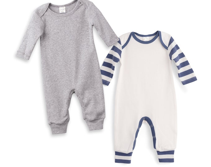 Newborn Romper Grey and Blue Striped, Newborn Take Home Outfit, Baby Boy Clothes, Baby Neutral Clothes, Baby Girl Clothes, Tesa Babe