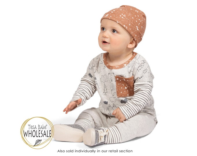 WHOLESALE Baby Boy Outfit, Baby Boy Bear Top Bottom Long Sleeve Outfit, Baby Boy Leggings, Newborn Boy Outfit, Infant Boy Autumn, TesaBabe