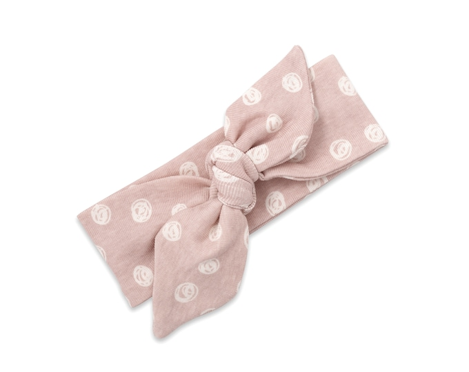 Baby Girl Headband, Newborn Girl Pink Headband, Infant Baby Bow Headband, Pink Polkadot Baby Bow, Floral TesaBabe SS19-1